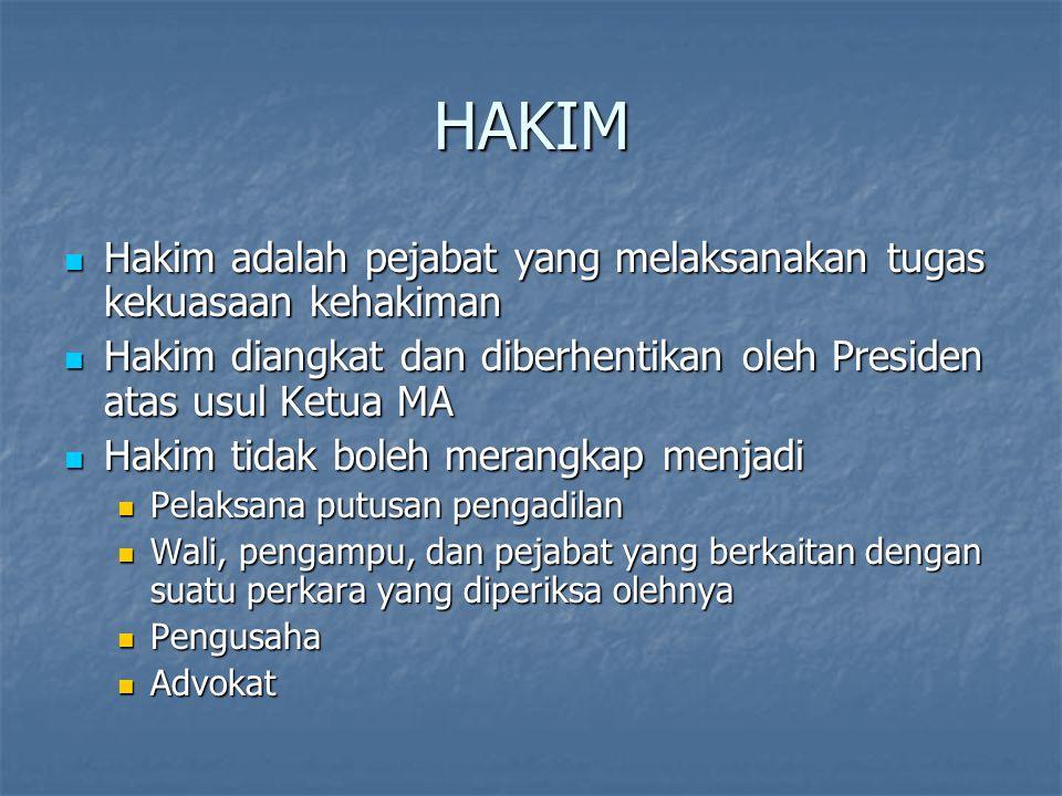HAKIM Hakim adalah pejabat yang melaksanakan tugas kekuasaan kehakiman Hakim adalah pejabat yang melaksanakan tugas kekuasaan kehakiman Hakim diangkat