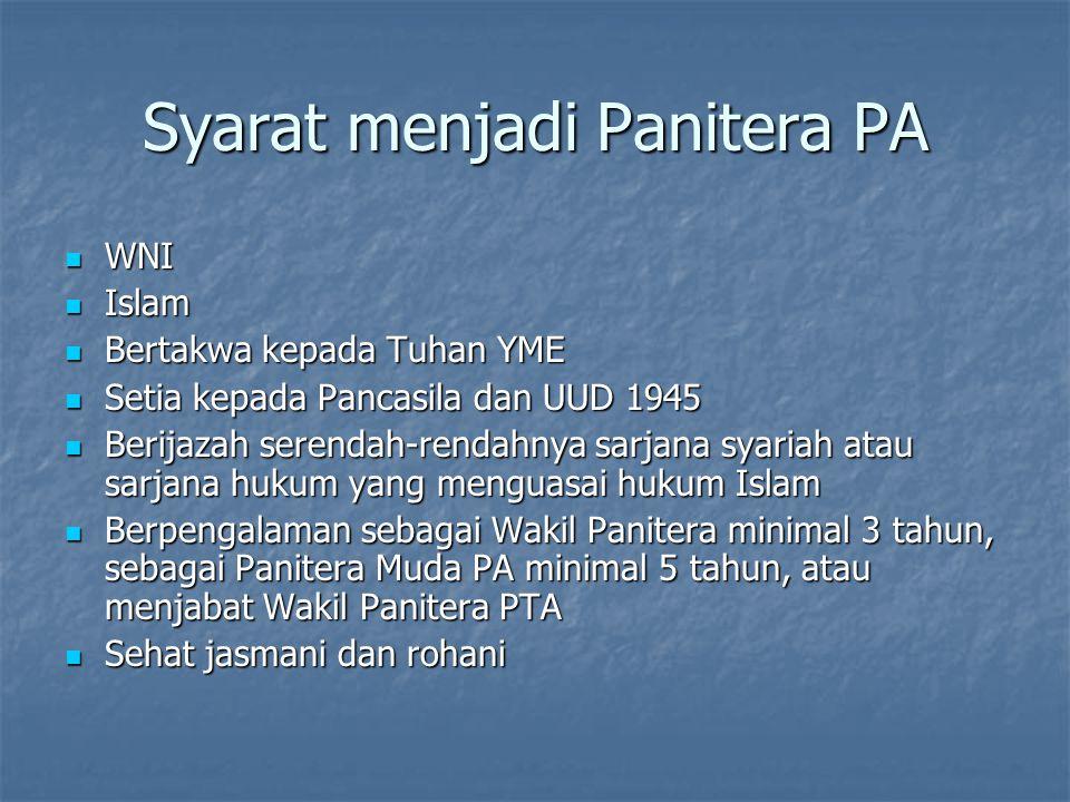 Syarat menjadi Panitera PA WNI WNI Islam Islam Bertakwa kepada Tuhan YME Bertakwa kepada Tuhan YME Setia kepada Pancasila dan UUD 1945 Setia kepada Pa