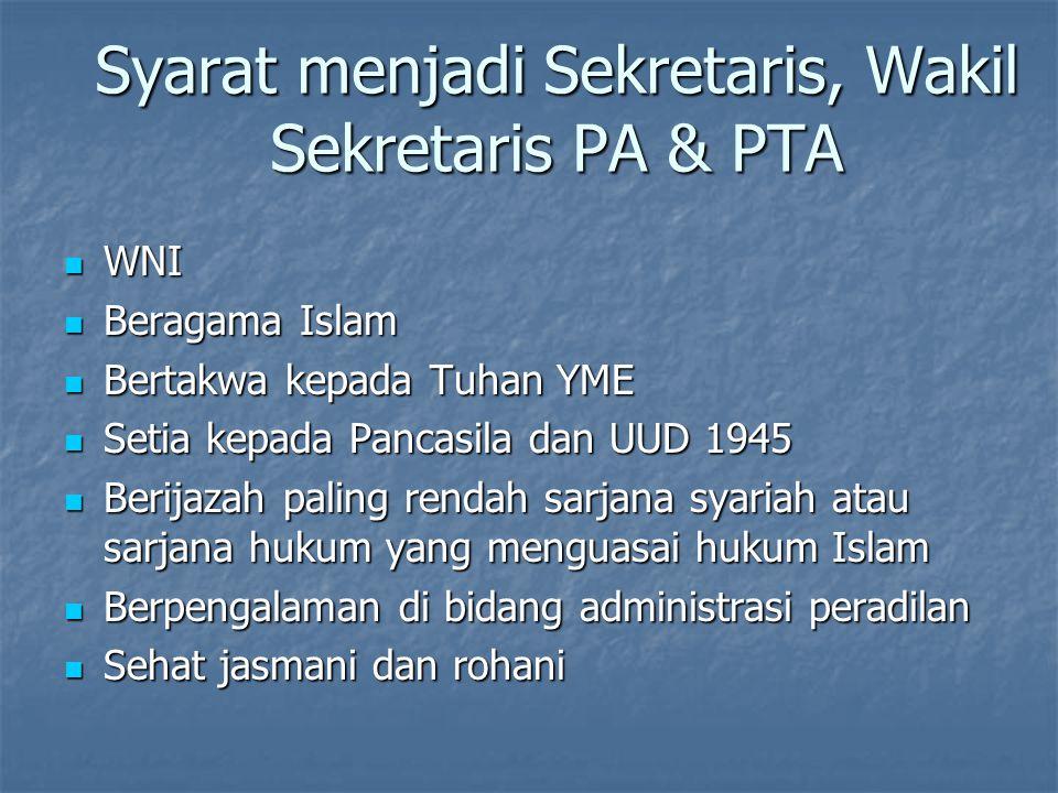 Syarat menjadi Sekretaris, Wakil Sekretaris PA & PTA WNI WNI Beragama Islam Beragama Islam Bertakwa kepada Tuhan YME Bertakwa kepada Tuhan YME Setia k