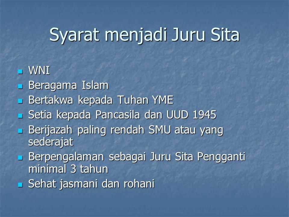 Syarat menjadi Juru Sita WNI WNI Beragama Islam Beragama Islam Bertakwa kepada Tuhan YME Bertakwa kepada Tuhan YME Setia kepada Pancasila dan UUD 1945