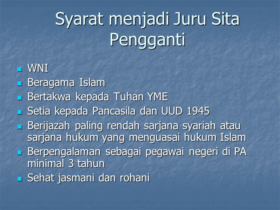 Syarat menjadi Juru Sita Pengganti WNI WNI Beragama Islam Beragama Islam Bertakwa kepada Tuhan YME Bertakwa kepada Tuhan YME Setia kepada Pancasila da