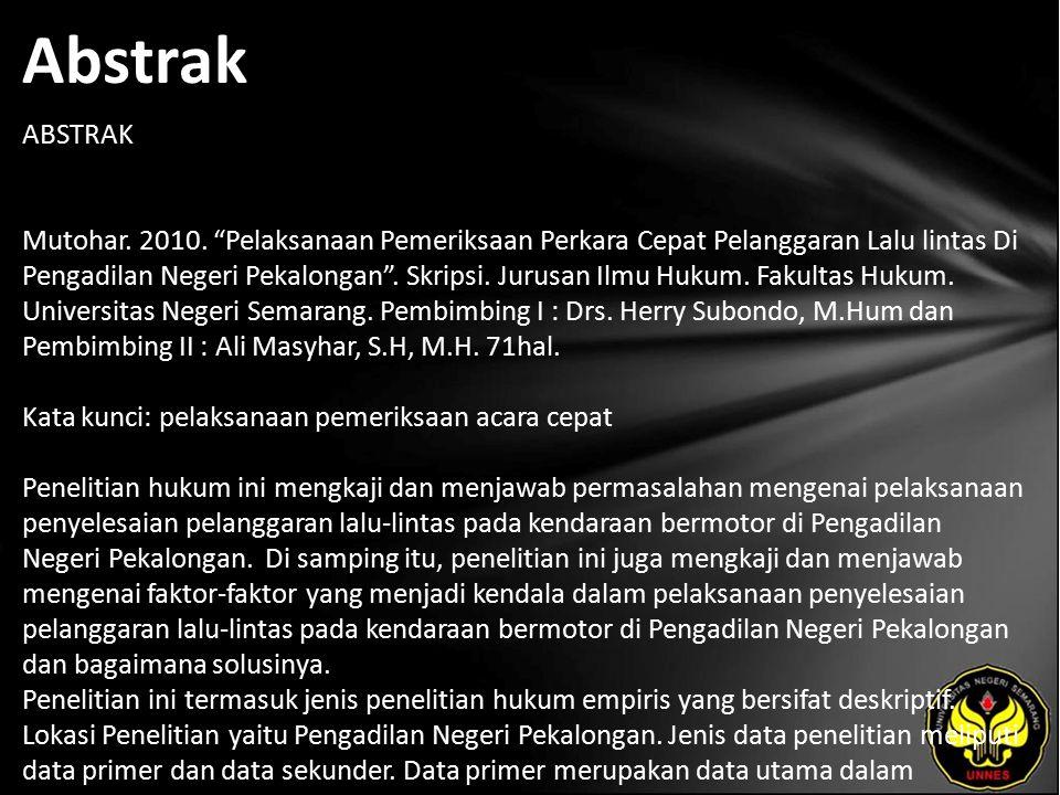 Abstrak ABSTRAK Mutohar. 2010.