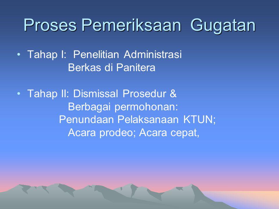 Proses Pemeriksaan Gugatan Tahap I: Penelitian Administrasi Berkas di Panitera Tahap II: Dismissal Prosedur & Berbagai permohonan: Penundaan Pelaksana