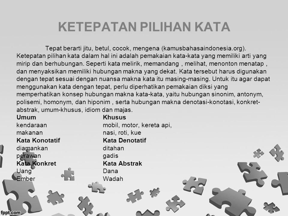 KETEPATAN PILIHAN KATA Tepat berarti jitu, betul, cocok, mengena (kamusbahasaindonesia.org). Ketepatan pilihan kata dalam hal ini adalah pemakaian kat