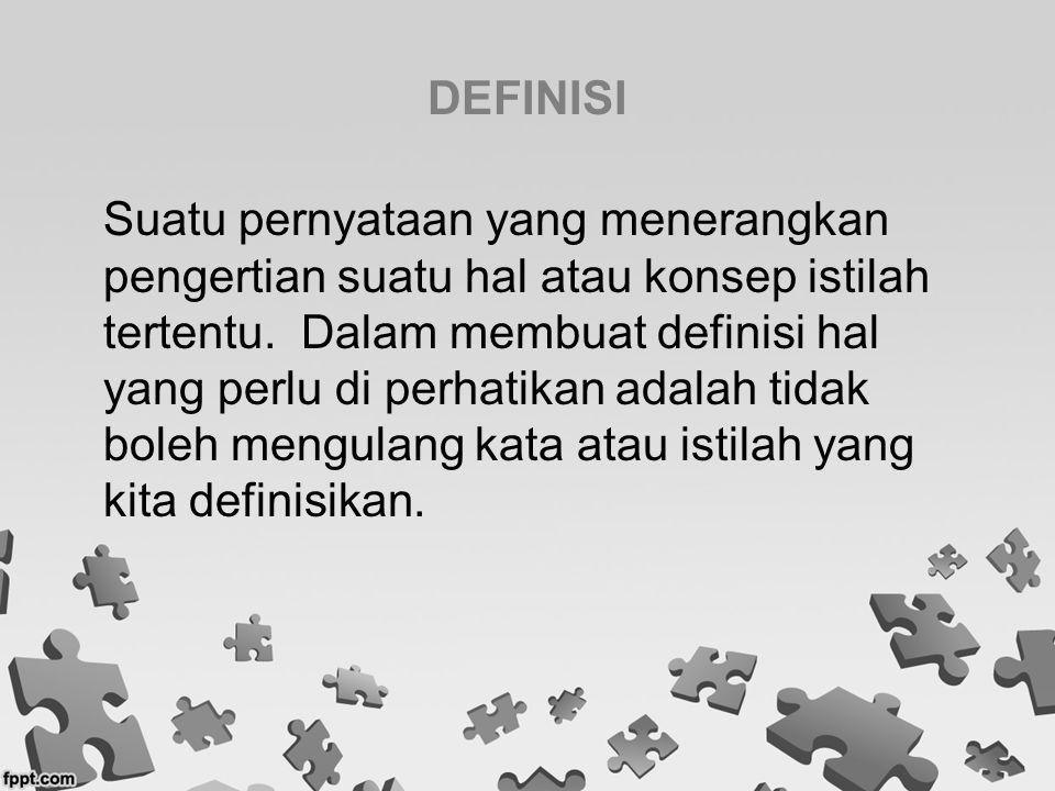 DEFINISI Suatu pernyataan yang menerangkan pengertian suatu hal atau konsep istilah tertentu. Dalam membuat definisi hal yang perlu di perhatikan adal