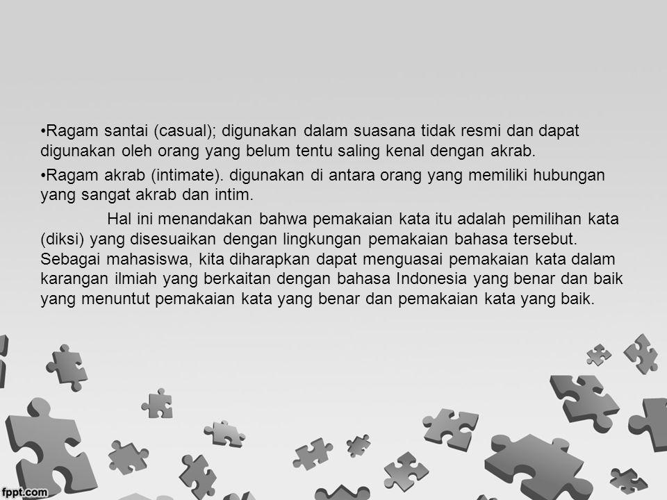 KATA YANG BENAR Dalam bahasa Indonesia dikenal adanya kata dasar dan kata jadian.