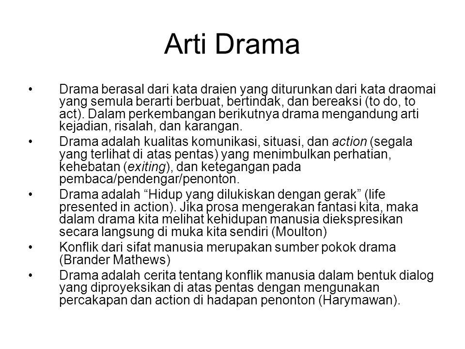 Arti Drama Drama berasal dari kata draien yang diturunkan dari kata draomai yang semula berarti berbuat, bertindak, dan bereaksi (to do, to act). Dala
