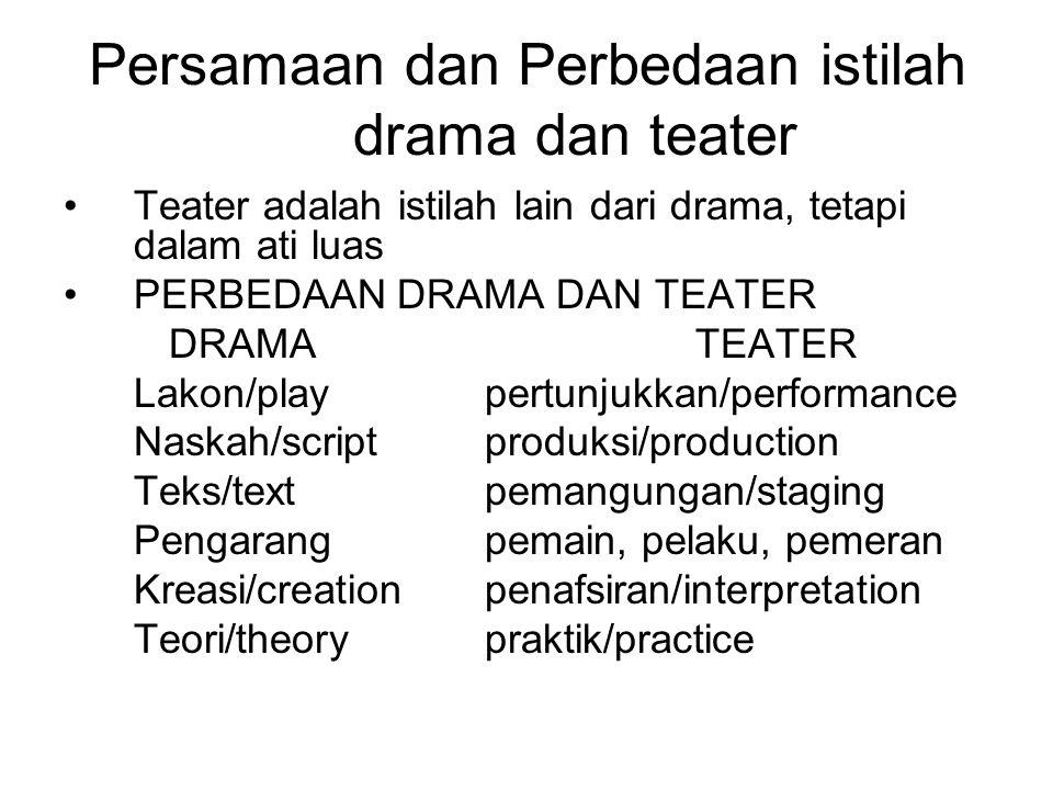 Persamaan dan Perbedaan istilah drama dan teater Teater adalah istilah lain dari drama, tetapi dalam ati luas PERBEDAAN DRAMA DAN TEATER DRAMATEATER L