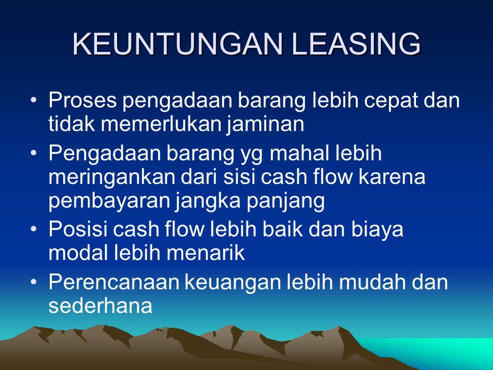 LEASING (sewa guna usaha) Ciri-ciri leasing: Ada 3 pihak Lesse, lessor, supplier Pembayaran sewa dilakukan berkala Masa sewa guna usaha ditentukan Dis