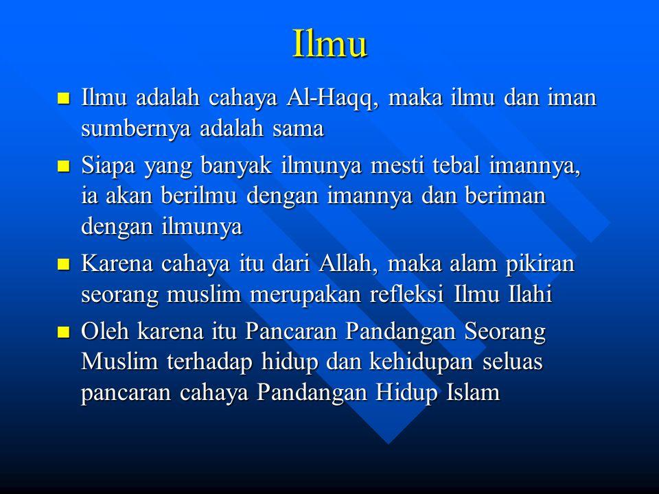 Ilmu Ilmu adalah cahaya Al-Haqq, maka ilmu dan iman sumbernya adalah sama Ilmu adalah cahaya Al-Haqq, maka ilmu dan iman sumbernya adalah sama Siapa y