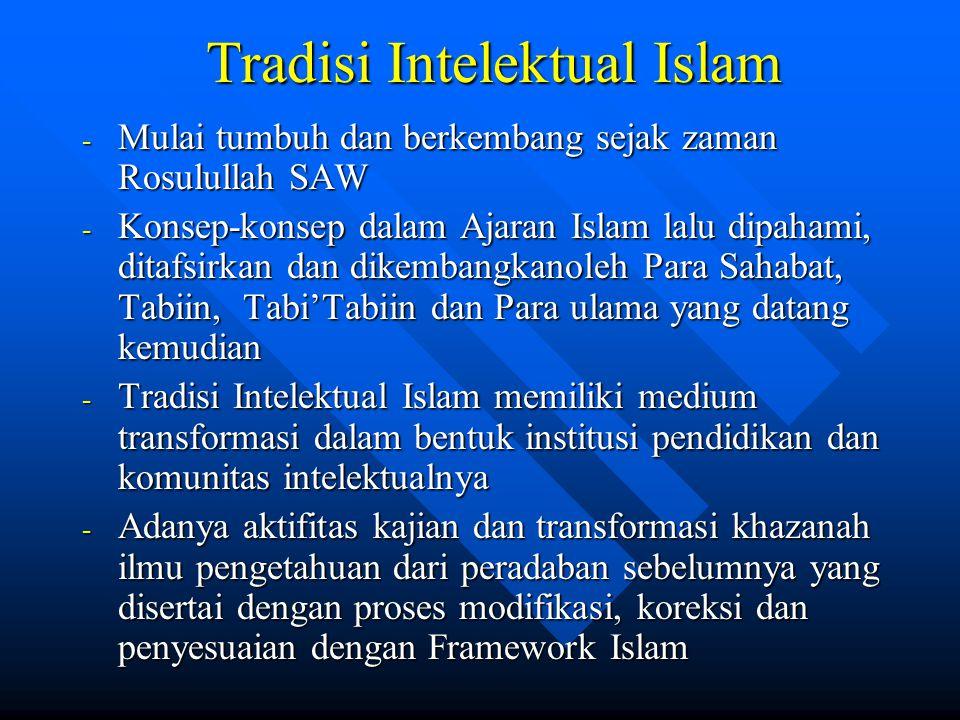 Tradisi Intelektual Islam Tradisi Intelektual Islam - Mulai tumbuh dan berkembang sejak zaman Rosulullah SAW - Konsep-konsep dalam Ajaran Islam lalu d
