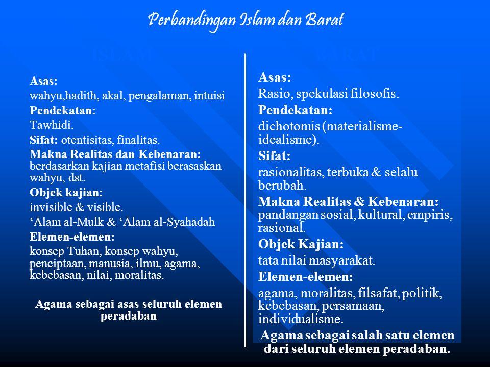 Perbandingan Islam dan Barat Asas: wahyu,hadith, akal, pengalaman, intuisi Pendekatan: Tawhidi. Sifat: otentisitas, finalitas. Makna Realitas dan Kebe
