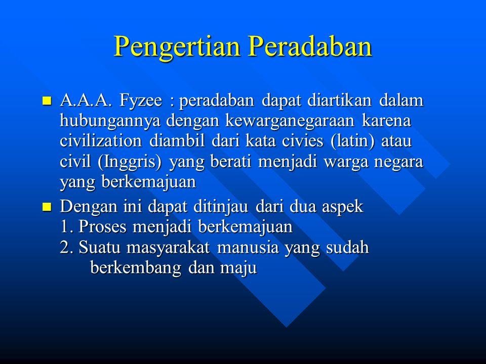Pengertian Peradaban A.A.A. Fyzee : peradaban dapat diartikan dalam hubungannya dengan kewarganegaraan karena civilization diambil dari kata civies (l