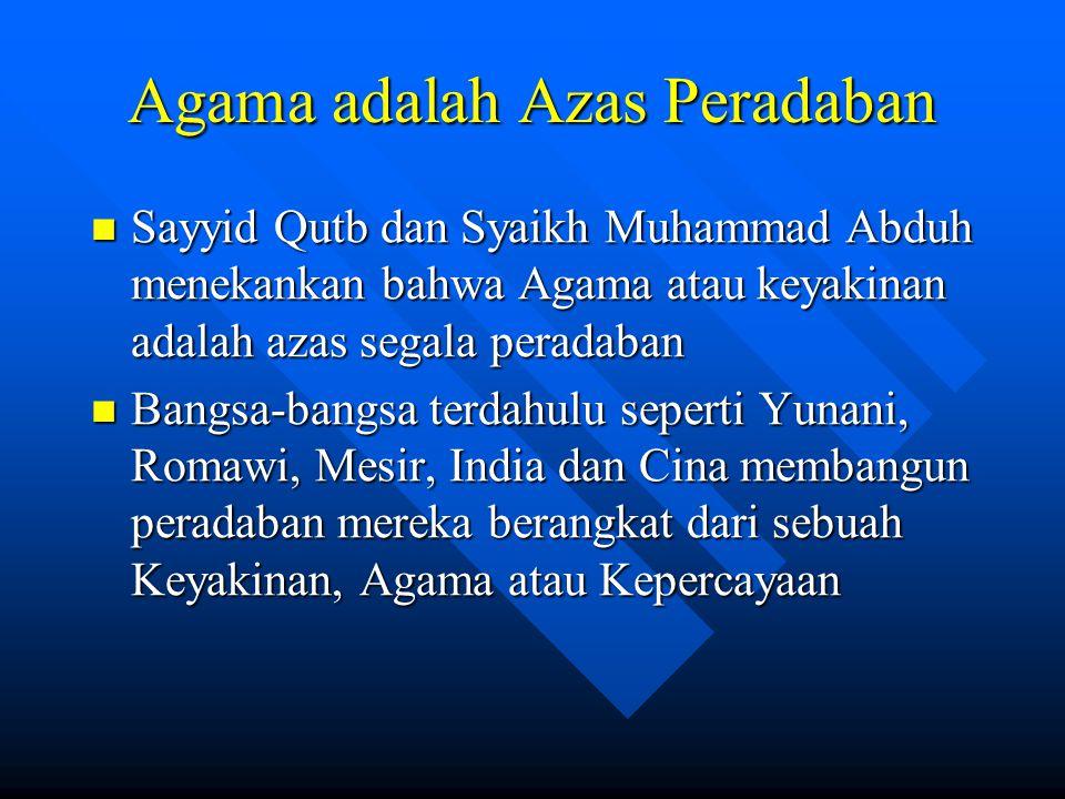 Agama adalah Azas Peradaban Sayyid Qutb dan Syaikh Muhammad Abduh menekankan bahwa Agama atau keyakinan adalah azas segala peradaban Sayyid Qutb dan S