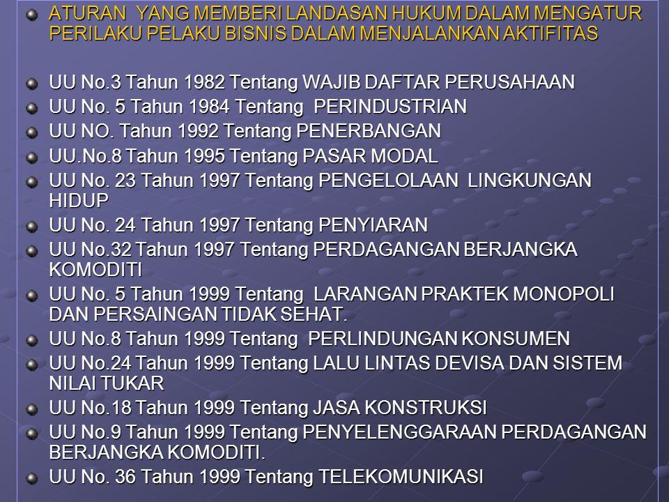 ATURAN YANG MEMBERI LANDASAN HUKUM DALAM MENGATUR PERILAKU PELAKU BISNIS DALAM MENJALANKAN AKTIFITAS UU No.3 Tahun 1982 Tentang WAJIB DAFTAR PERUSAHAAN UU No.
