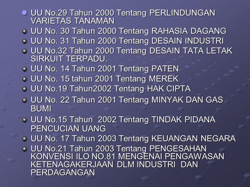 UU No.29 Tahun 2000 Tentang PERLINDUNGAN VARIETAS TANAMAN UU No.29 Tahun 2000 Tentang PERLINDUNGAN VARIETAS TANAMAN UU No.