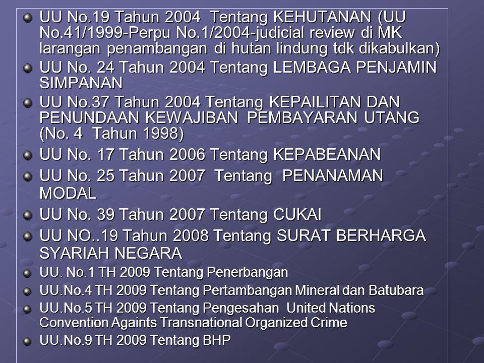 UU No.19 Tahun 2004 Tentang KEHUTANAN (UU No.41/1999-Perpu No.1/2004-judicial review di MK larangan penambangan di hutan lindung tdk dikabulkan) UU No.