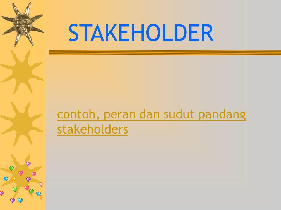 contoh, peran dan sudut pandang stakeholders STAKEHOLDER