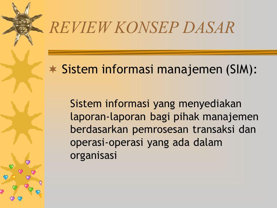 REVIEW KONSEP DASAR  Sistem informasi manajemen (SIM): Sistem informasi yang menyediakan laporan-laporan bagi pihak manajemen berdasarkan pemrosesan