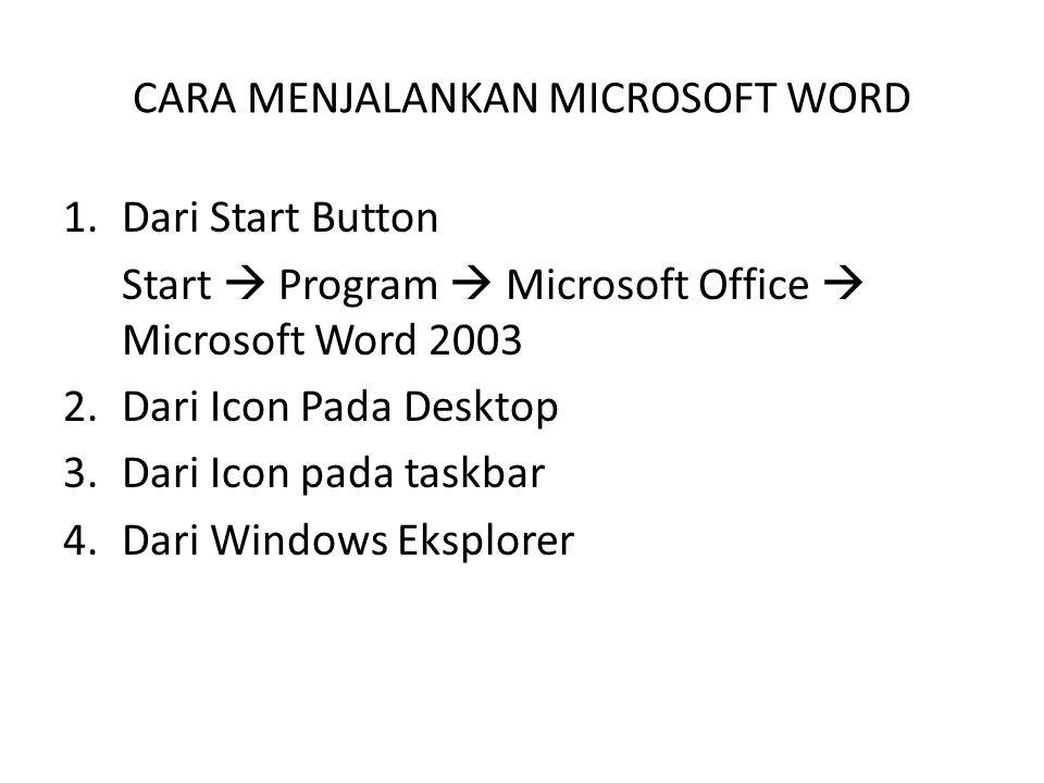 CARA MENJALANKAN MICROSOFT WORD 1.Dari Start Button Start  Program  Microsoft Office  Microsoft Word 2003 2.Dari Icon Pada Desktop 3.Dari Icon pada