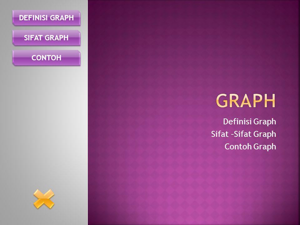 Graph adalah kumpulan dari simpul dan busur yang secara matematis dinyatakan sebagai : G = (V, E) Dimana : G = Graph V = Simpul atau Vertex, atau Node E = Busur atau Edge, atau arc