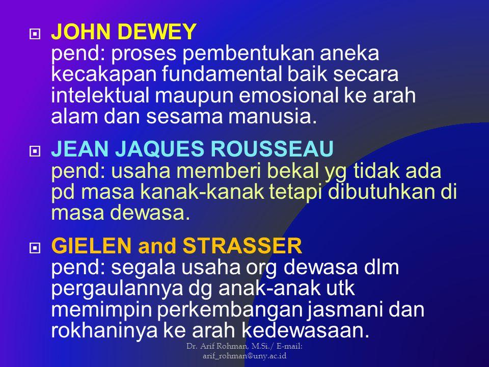  JOHN DEWEY pend: proses pembentukan aneka kecakapan fundamental baik secara intelektual maupun emosional ke arah alam dan sesama manusia.