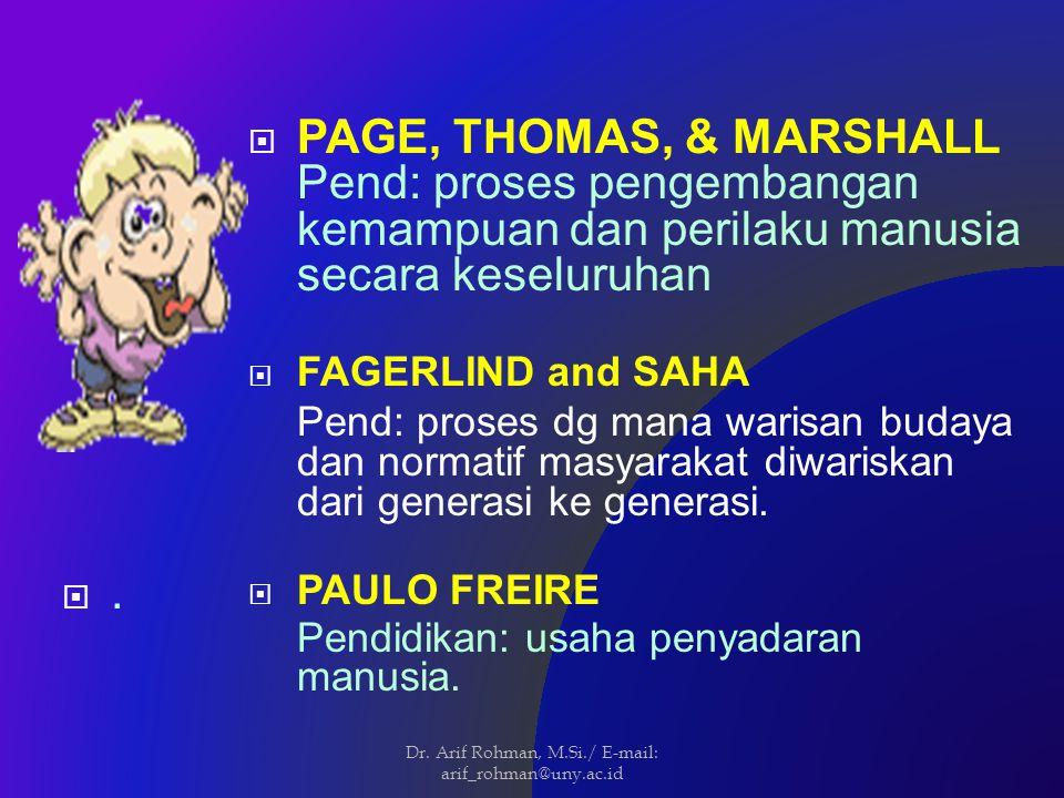  PAGE, THOMAS, & MARSHALL Pend: proses pengembangan kemampuan dan perilaku manusia secara keseluruhan  FAGERLIND and SAHA Pend: proses dg mana warisan budaya dan normatif masyarakat diwariskan dari generasi ke generasi.