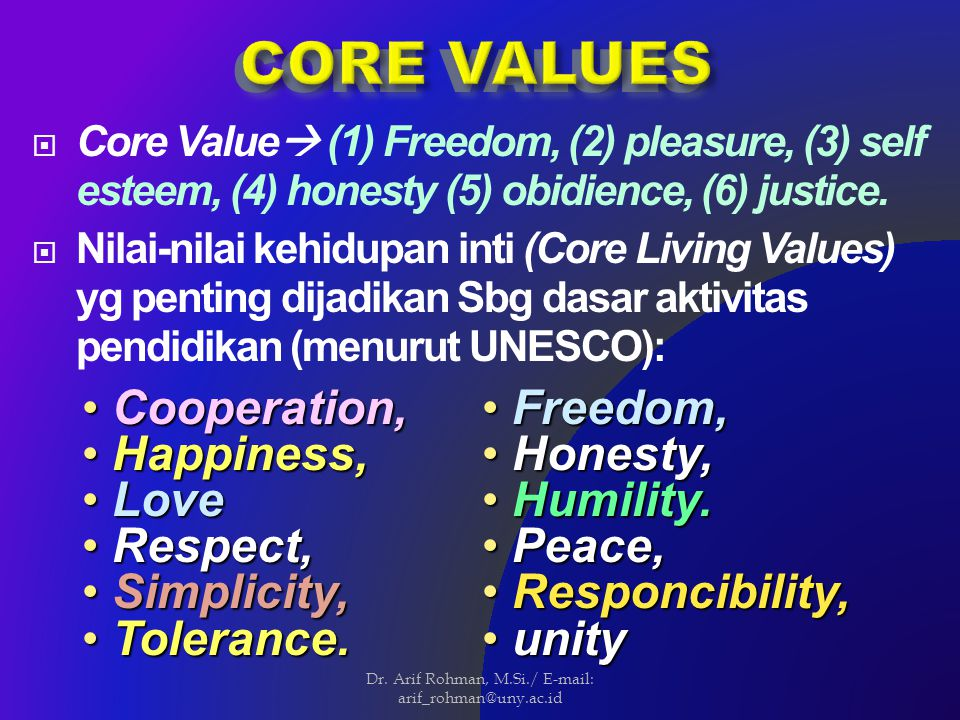  Core Value  (1) Freedom, (2) pleasure, (3) self esteem, (4) honesty (5) obidience, (6) justice.  Nilai-nilai kehidupan inti (Core Living Values) y