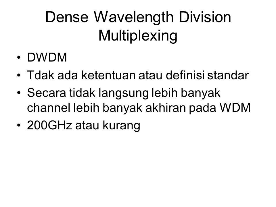Dense Wavelength Division Multiplexing DWDM Tdak ada ketentuan atau definisi standar Secara tidak langsung lebih banyak channel lebih banyak akhiran p