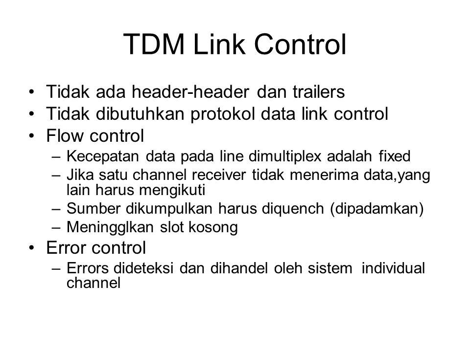 TDM Link Control Tidak ada header-header dan trailers Tidak dibutuhkan protokol data link control Flow control –Kecepatan data pada line dimultiplex a