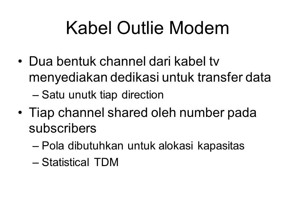 Pengoperasian Kabel Modem Downstream –Kabel scheduler mengirimkan data dalam pake-paket kecil –Jika lebih dari satu subscriber active, tiap subscriber mendapatkan kapasitas fraction downstream mendapatkan 500kbps sampai 1.5Mbps –Digunakan juga untuk alokasi time slots upstream untuk subscribers Upstream –User meminta timeslots dalam bagian channel upstream Diperuntukkan untuk slots –Headend scheduler mengirim kembali assignment pada time slot berikutnya untuk subscriber
