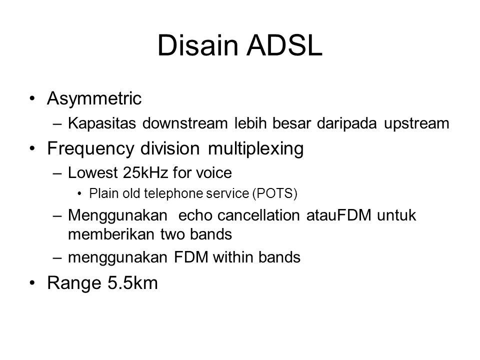 Disain ADSL Asymmetric –Kapasitas downstream lebih besar daripada upstream Frequency division multiplexing –Lowest 25kHz for voice Plain old telephone