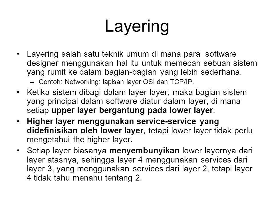 Layering Layering salah satu teknik umum di mana para software designer menggunakan hal itu untuk memecah sebuah sistem yang rumit ke dalam bagian-bagian yang lebih sederhana.