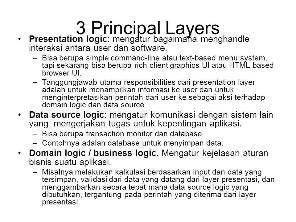 3 Principal Layers Presentation logic: mengatur bagaimana menghandle interaksi antara user dan software.