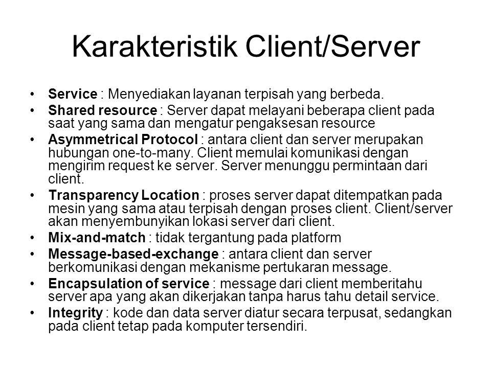 Karakteristik Client/Server Service : Menyediakan layanan terpisah yang berbeda.