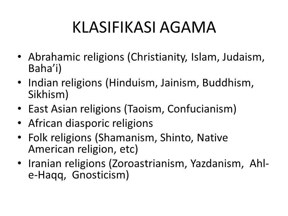 KLASIFIKASI AGAMA Abrahamic religions (Christianity, Islam, Judaism, Baha'i) Indian religions (Hinduism, Jainism, Buddhism, Sikhism) East Asian religi