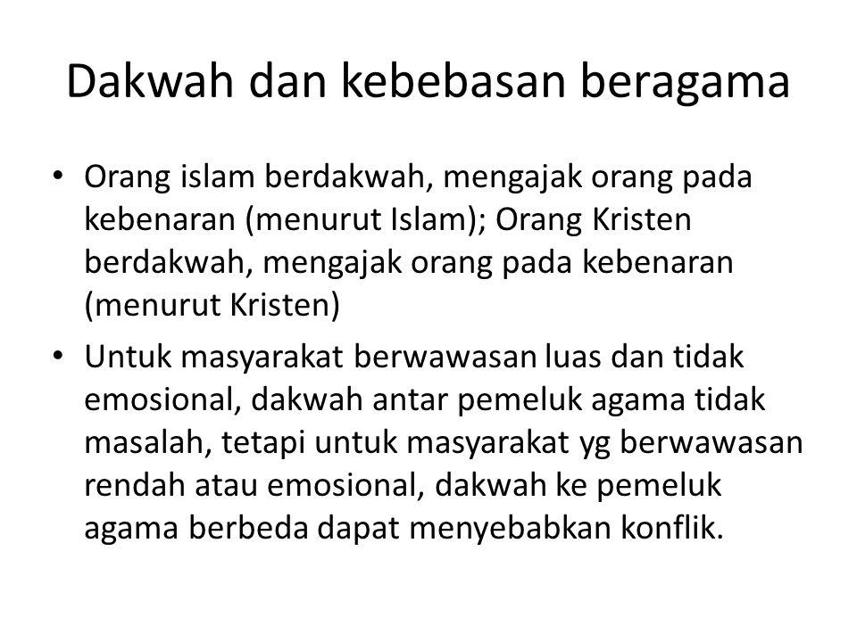 Dakwah dan kebebasan beragama Orang islam berdakwah, mengajak orang pada kebenaran (menurut Islam); Orang Kristen berdakwah, mengajak orang pada keben