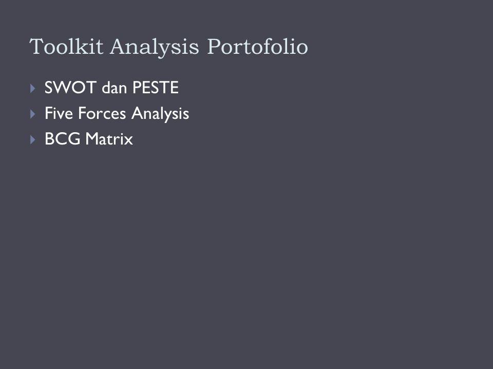Toolkit Analysis Portofolio  SWOT dan PESTE  Five Forces Analysis  BCG Matrix