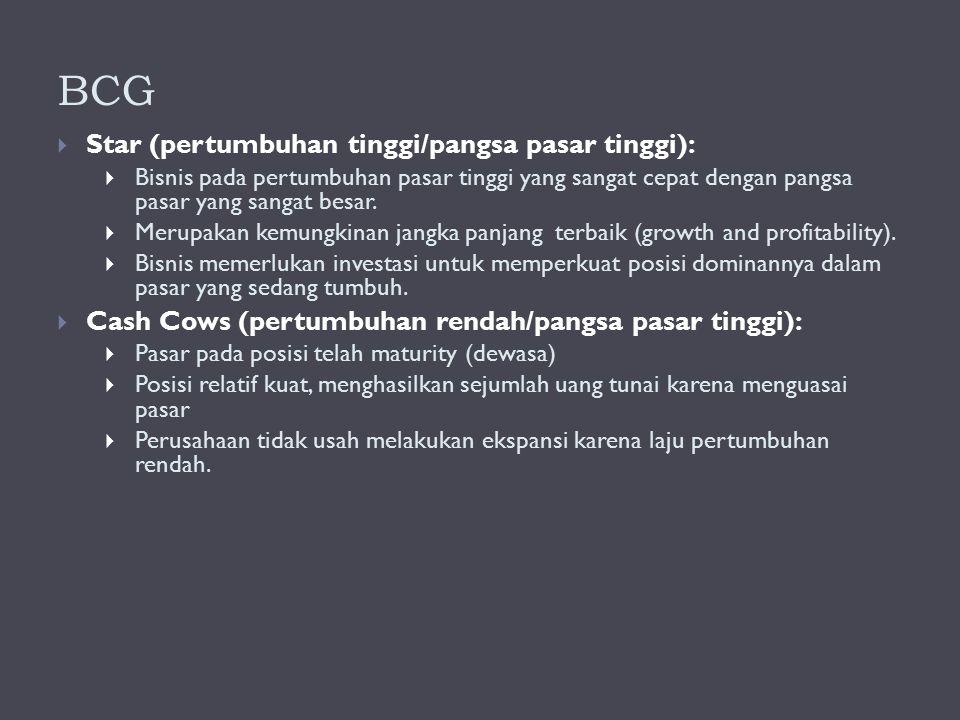 BCG  Star (pertumbuhan tinggi/pangsa pasar tinggi):  Bisnis pada pertumbuhan pasar tinggi yang sangat cepat dengan pangsa pasar yang sangat besar. 
