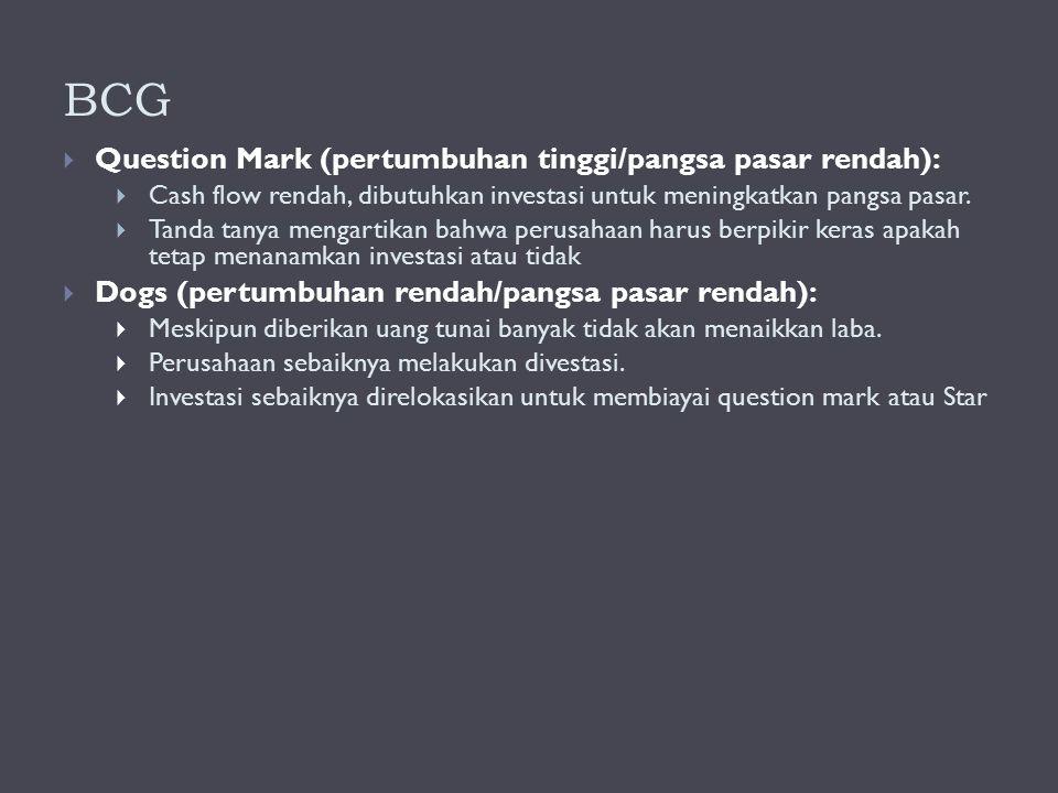 BCG  Question Mark (pertumbuhan tinggi/pangsa pasar rendah):  Cash flow rendah, dibutuhkan investasi untuk meningkatkan pangsa pasar.  Tanda tanya
