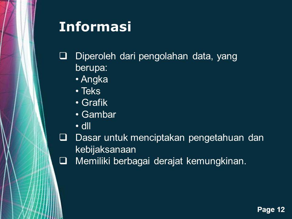 Free Powerpoint Templates Page 12 Informasi  Diperoleh dari pengolahan data, yang berupa: Angka Teks Grafik Gambar dll  Dasar untuk menciptakan peng