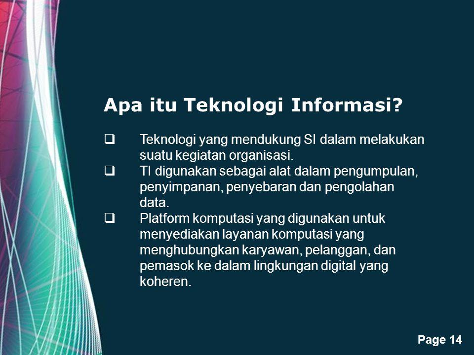 Free Powerpoint Templates Page 14 Apa itu Teknologi Informasi?  Teknologi yang mendukung SI dalam melakukan suatu kegiatan organisasi.  TI digunakan
