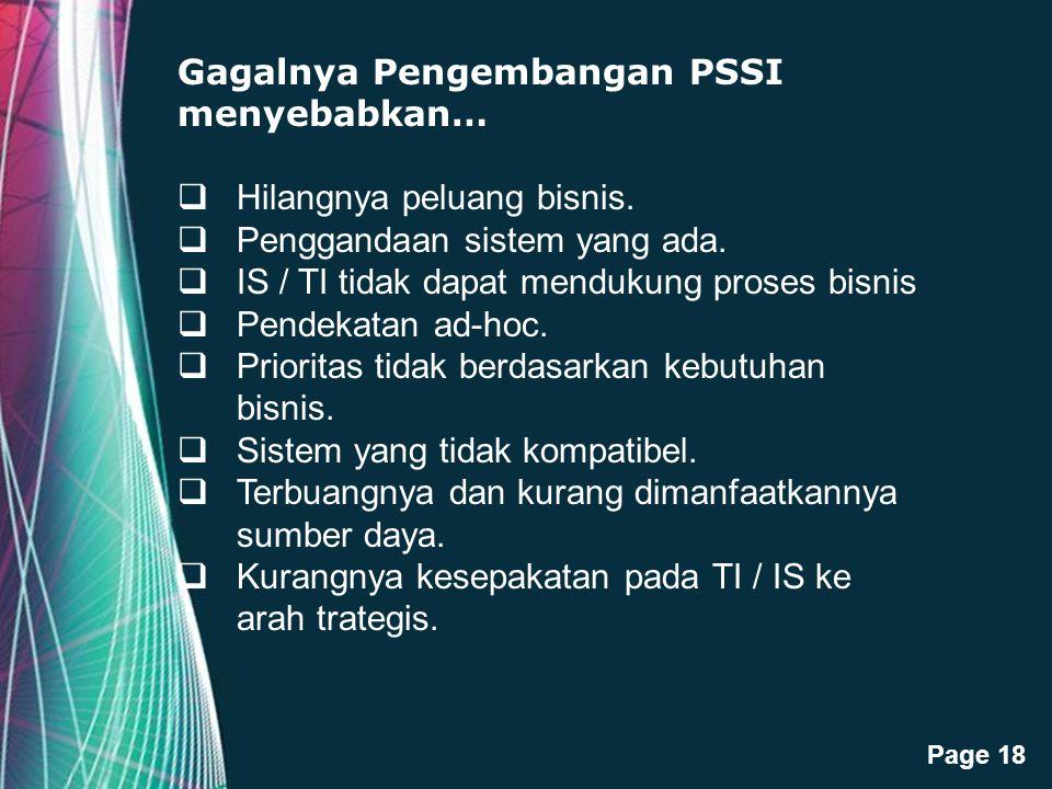Free Powerpoint Templates Page 18 Gagalnya Pengembangan PSSI menyebabkan…  Hilangnya peluang bisnis.  Penggandaan sistem yang ada.  IS / TI tidak d