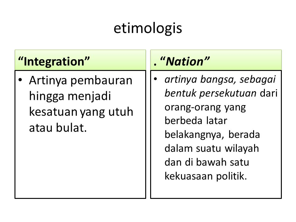 "etimologis ""Integration"" Artinya pembauran hingga menjadi kesatuan yang utuh atau bulat.. ""Nation"" artinya bangsa, sebagai bentuk persekutuan dari ora"