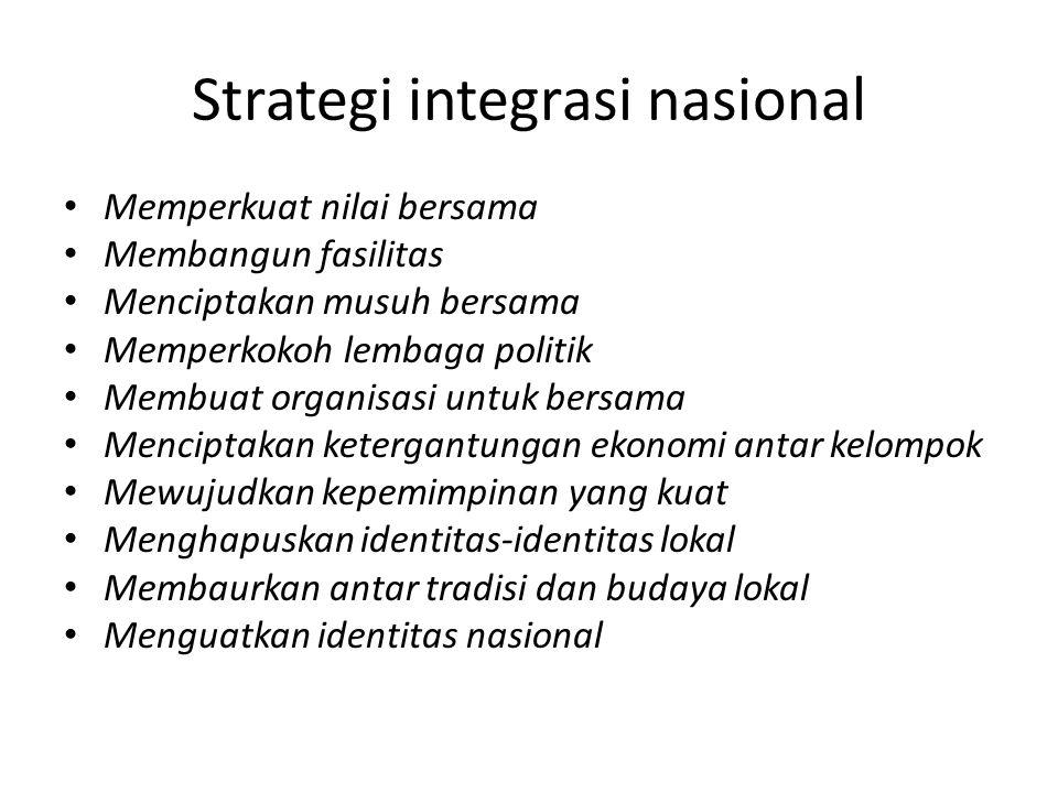 Strategi integrasi nasional Memperkuat nilai bersama Membangun fasilitas Menciptakan musuh bersama Memperkokoh lembaga politik Membuat organisasi untu