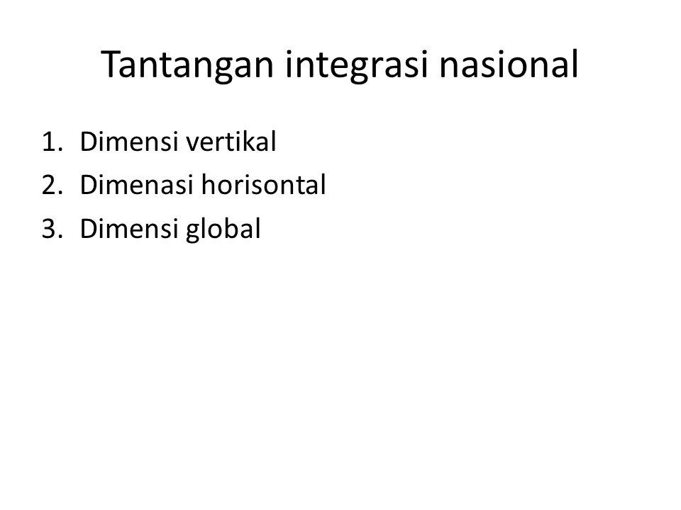 Tantangan integrasi nasional 1.Dimensi vertikal 2.Dimenasi horisontal 3.Dimensi global