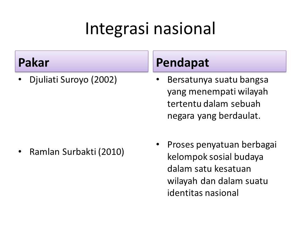Integrasi nasional Pakar Djuliati Suroyo (2002) Ramlan Surbakti (2010) Pendapat Bersatunya suatu bangsa yang menempati wilayah tertentu dalam sebuah n