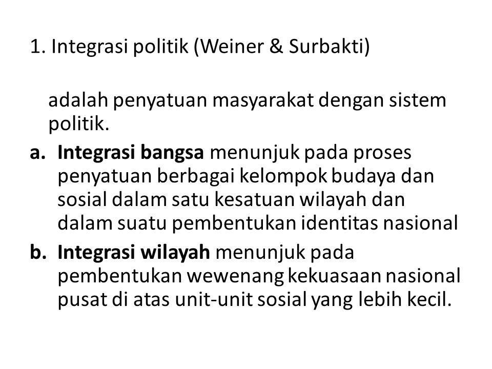 1. Integrasi politik (Weiner & Surbakti) adalah penyatuan masyarakat dengan sistem politik. a.Integrasi bangsa menunjuk pada proses penyatuan berbagai