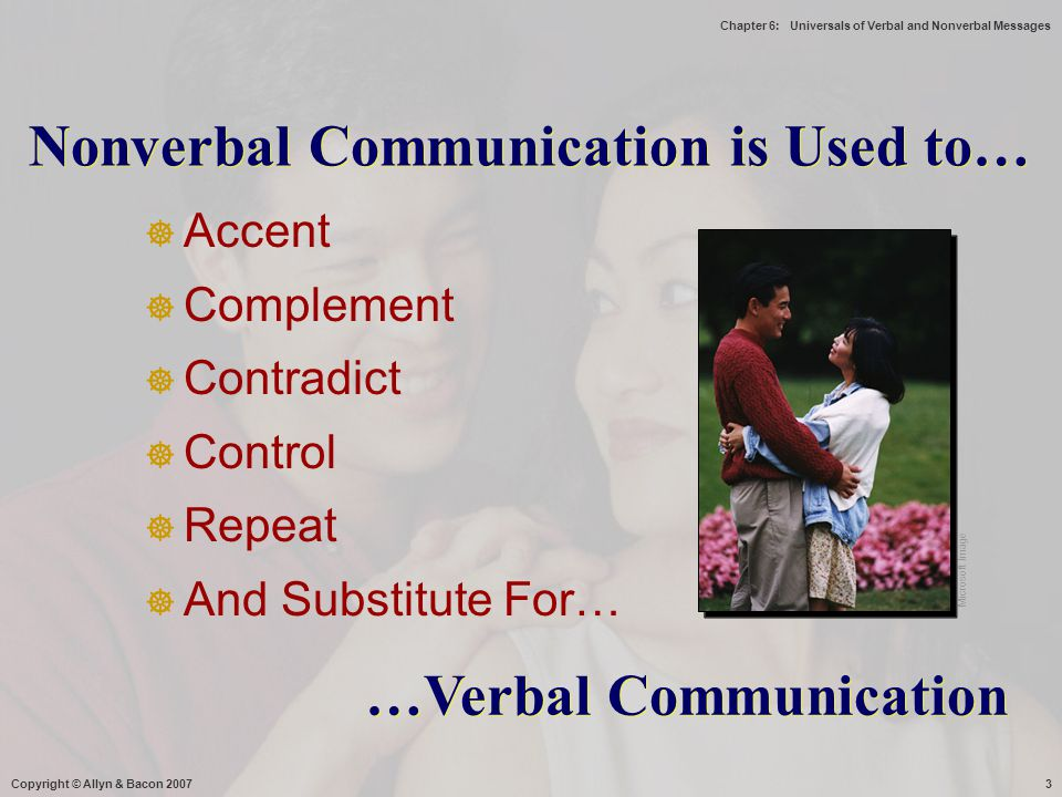 Chapter 6: Universals of Verbal and Nonverbal Messages Copyright © Allyn & Bacon 20074 When Communicating Electronically...