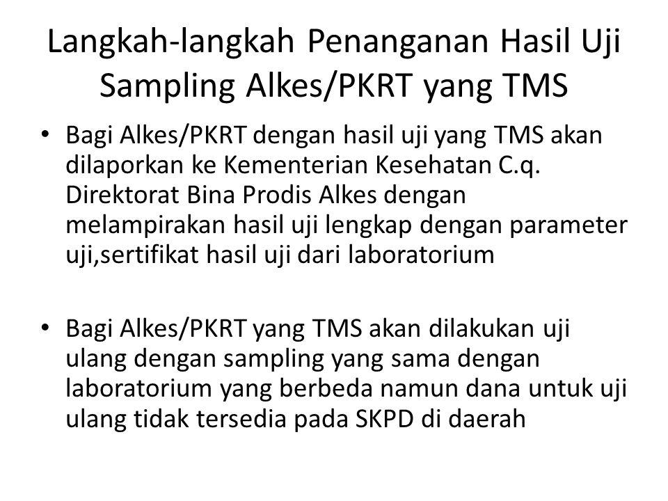 Langkah-langkah Penanganan Hasil Uji Sampling Alkes/PKRT yang TMS Bagi Alkes/PKRT dengan hasil uji yang TMS akan dilaporkan ke Kementerian Kesehatan C